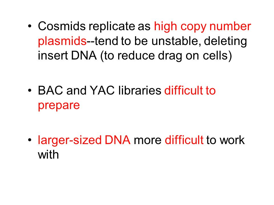 Cosmids replicate as high copy number plasmids--tend to be unstable, deleting insert DNA (to reduce drag on cells)