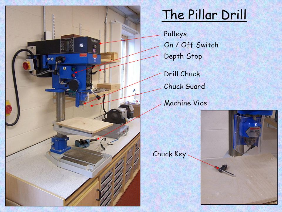 The Pillar Drill Pulleys On / Off Switch Depth Stop Drill Chuck