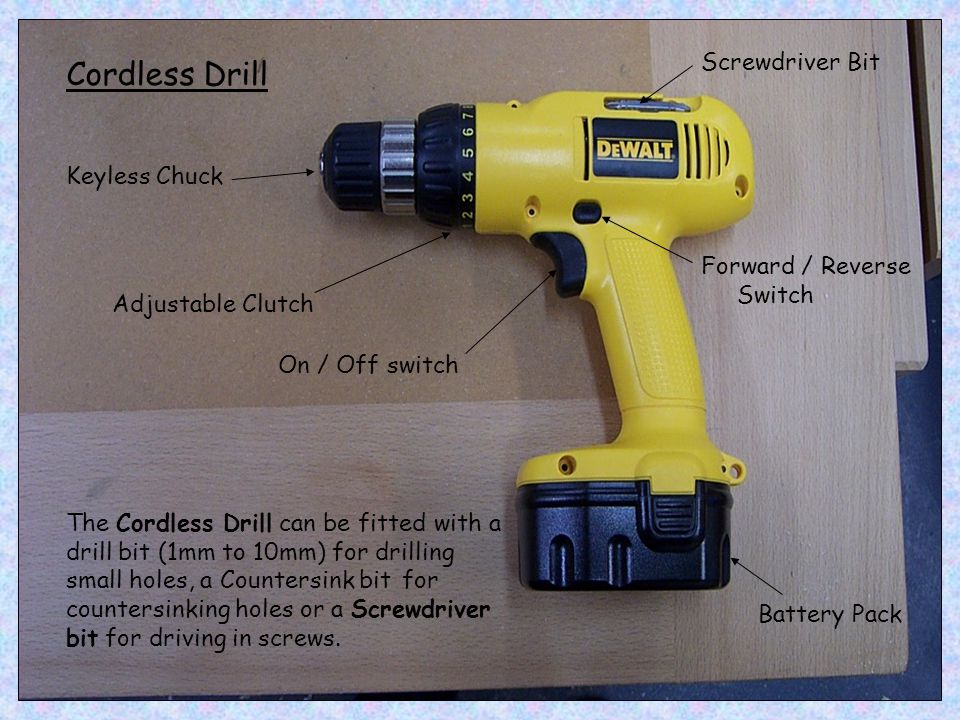 Cordless Drill Screwdriver Bit Keyless Chuck Forward / Reverse Switch