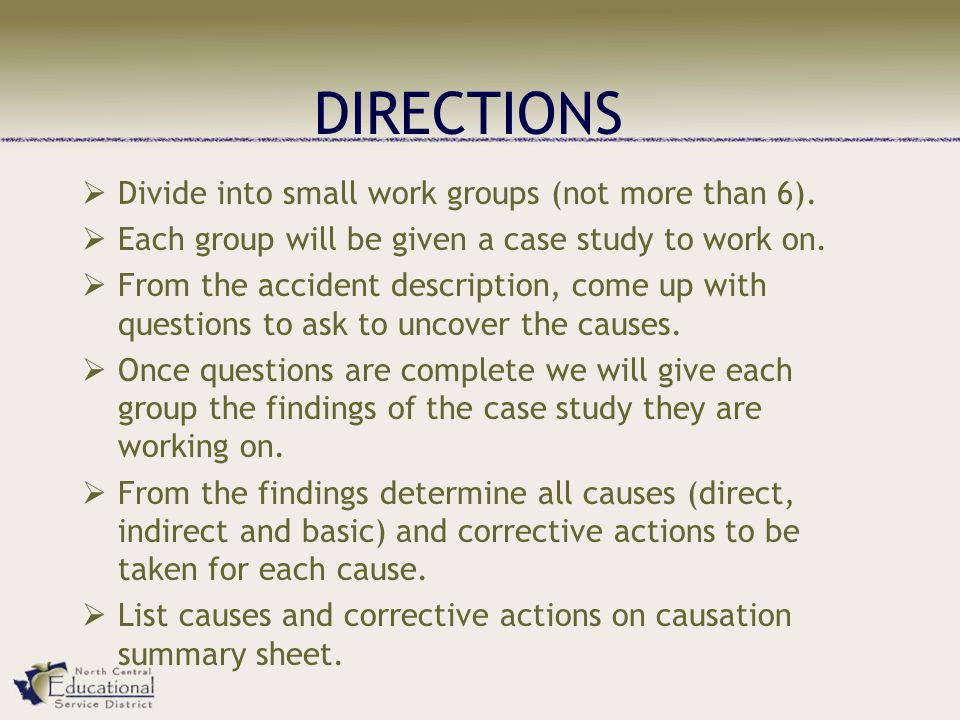 DIRECTIONS Divide into small work groups (not more than 6).