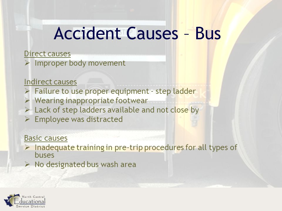 Accident Causes – Bus Direct causes Improper body movement
