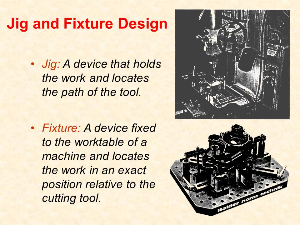 Jig and Fixture Design Jig: A device that holds the work and locates the path of the tool.