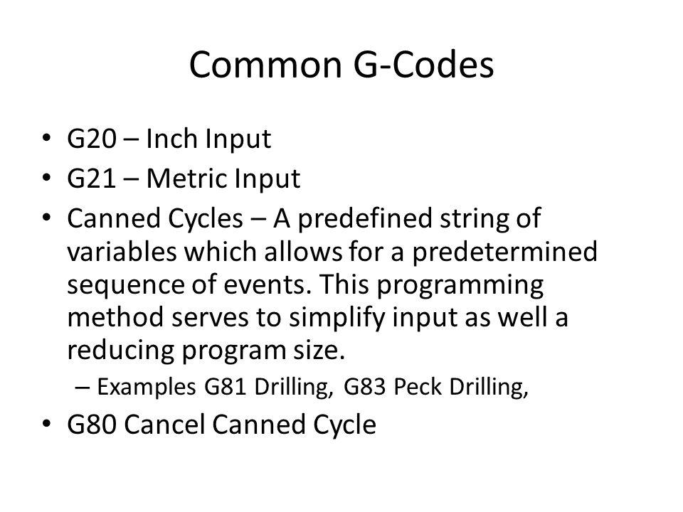 Common G-Codes G20 – Inch Input G21 – Metric Input