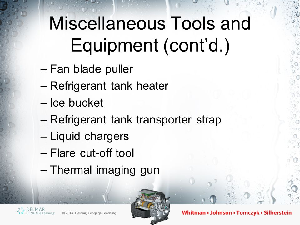 Miscellaneous Tools and Equipment (cont'd.)