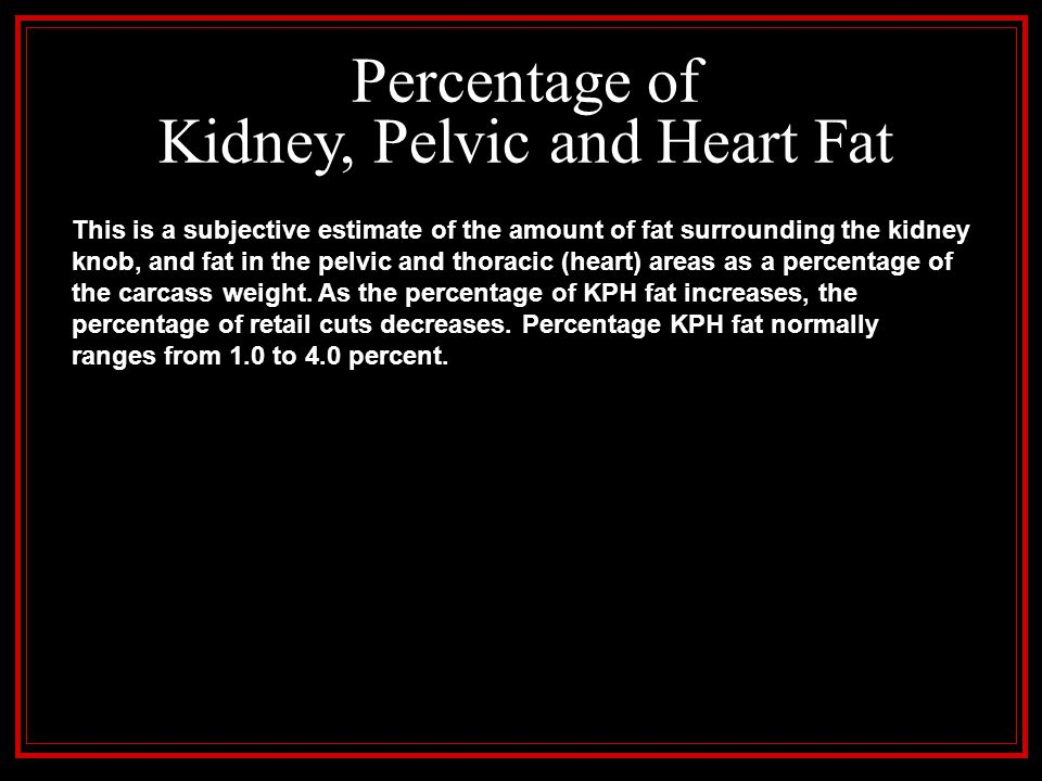 Percentage of Kidney, Pelvic and Heart Fat