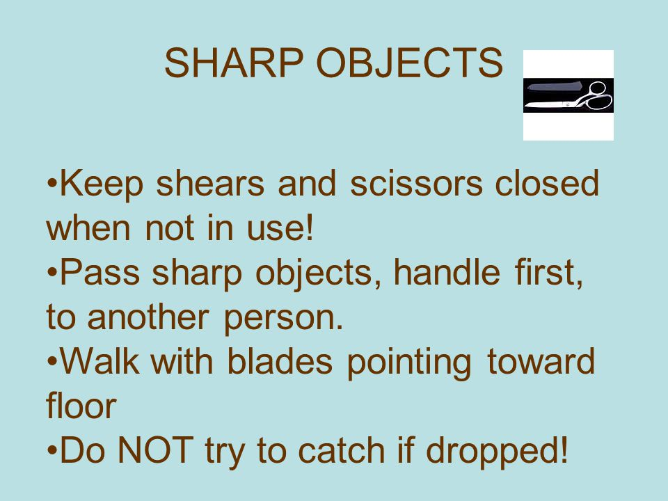 SHARP OBJECTS Keep shears and scissors closed when not in use!