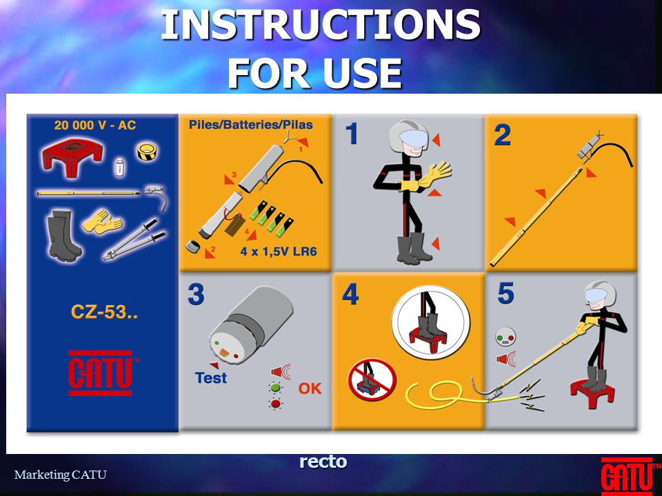 INSTRUCTIONS FOR USE recto Marketing CATU