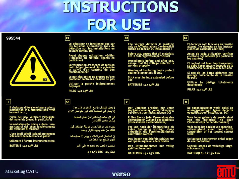 INSTRUCTIONS FOR USE Marketing CATU verso