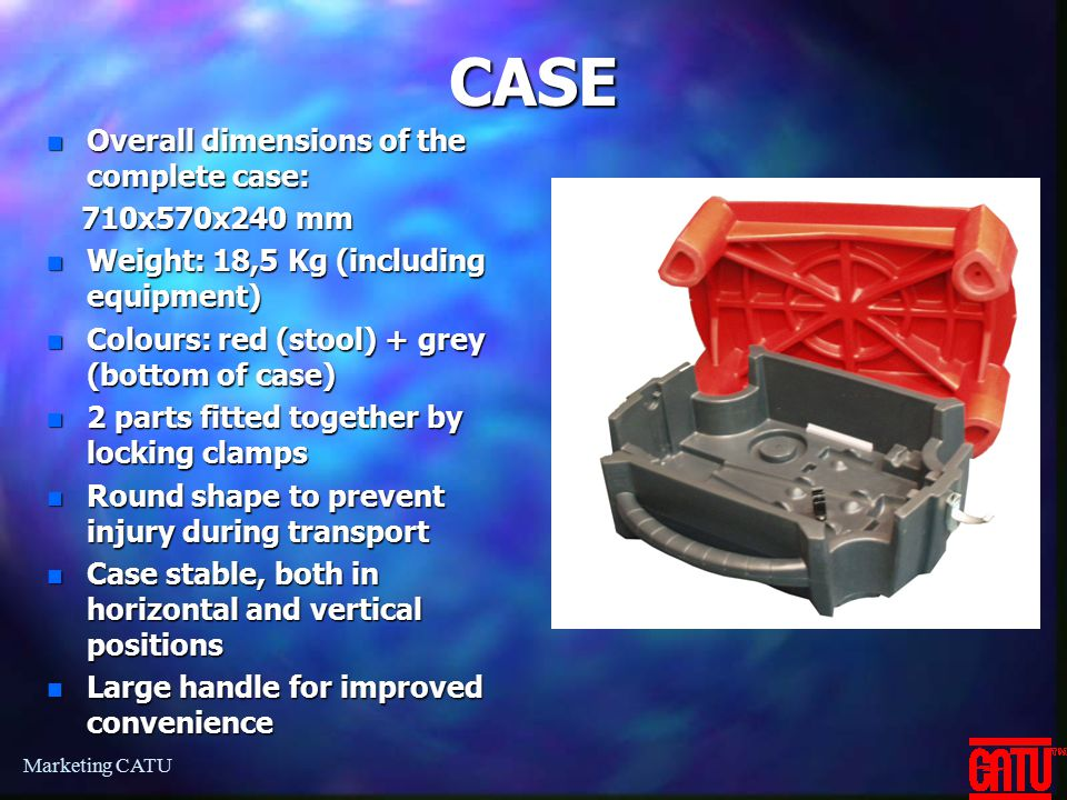 CASE Overall dimensions of the complete case: 710x570x240 mm