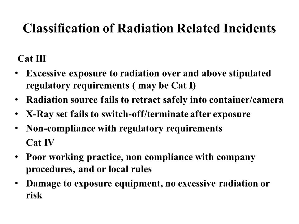 Classification of Radiation Related Incidents