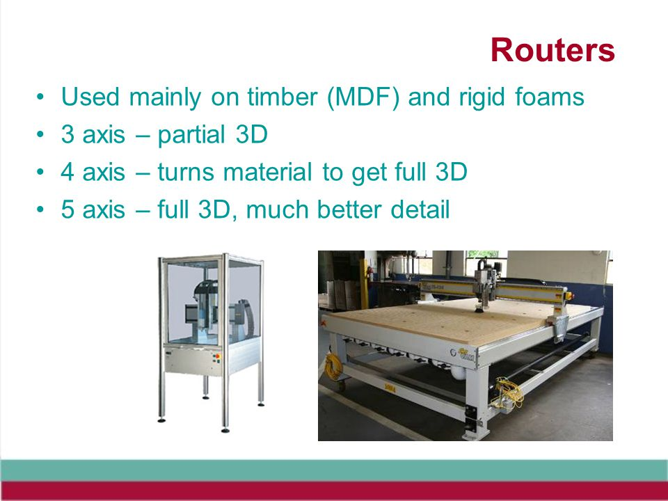 Routers Used mainly on timber (MDF) and rigid foams