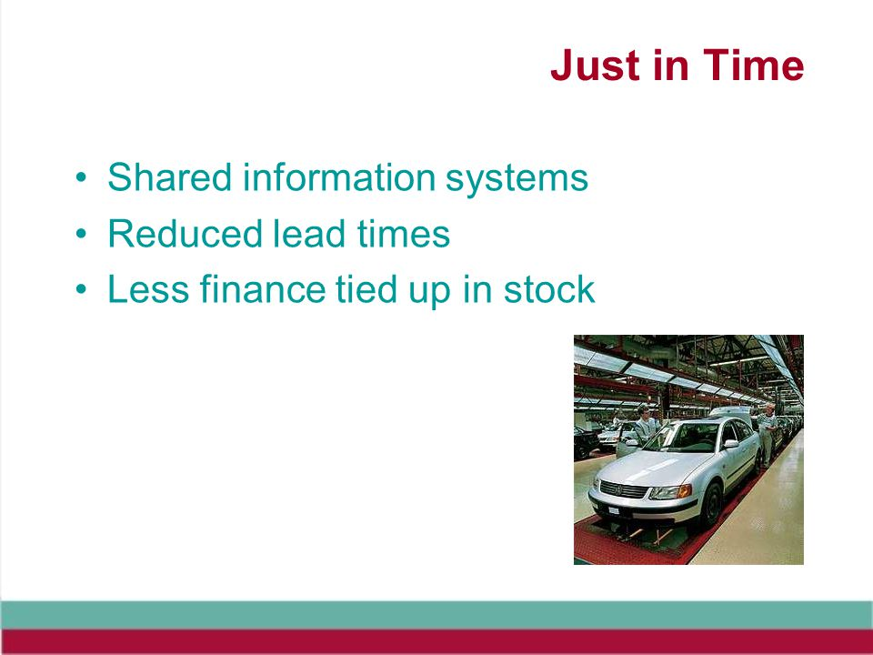Just in Time Shared information systems Reduced lead times