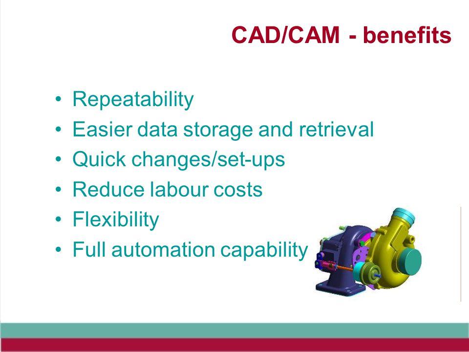 CAD/CAM - benefits Repeatability Easier data storage and retrieval