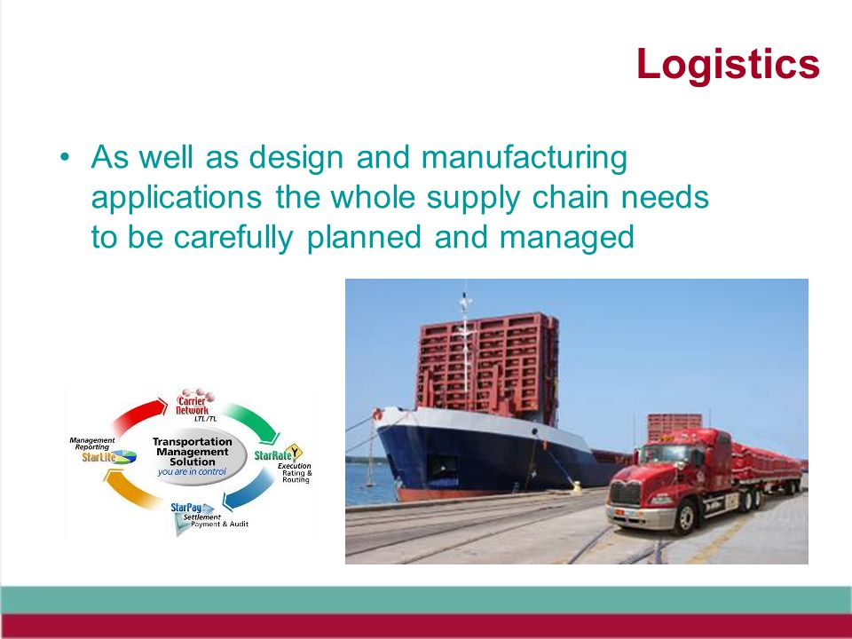 Logistics As well as design and manufacturing applications the whole supply chain needs to be carefully planned and managed.