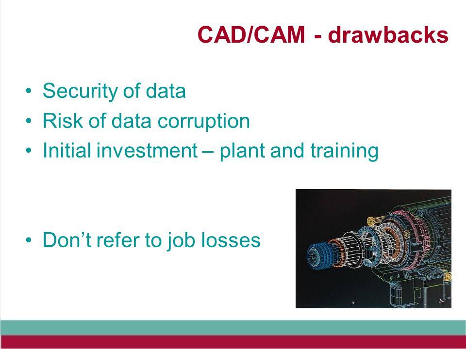 CAD/CAM - drawbacks Security of data Risk of data corruption