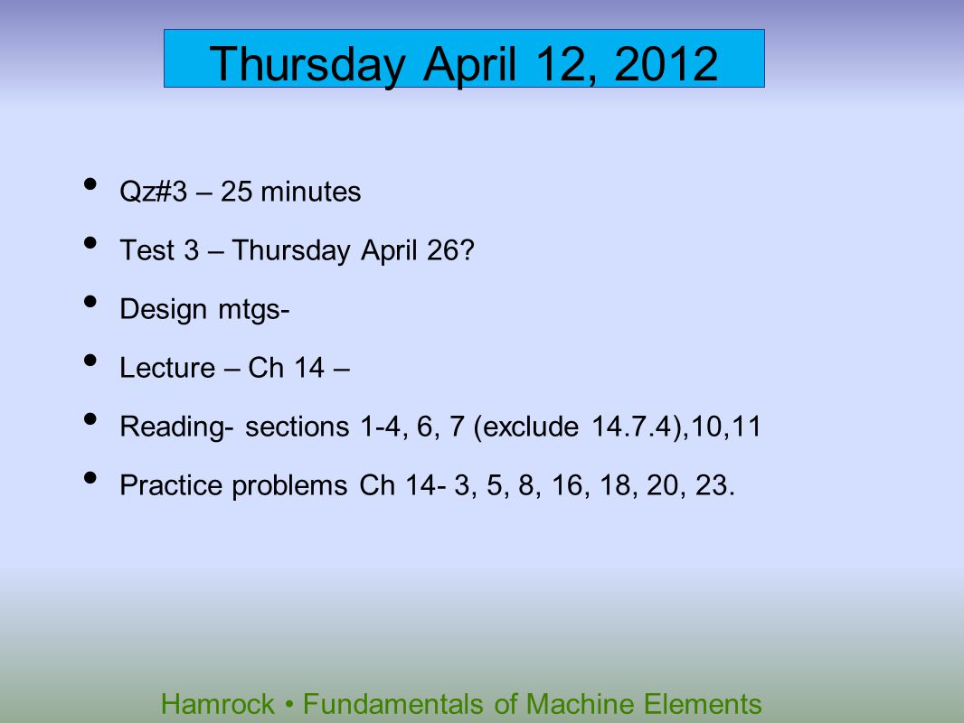 Thursday April 12, 2012 Qz#3 – 25 minutes Test 3 – Thursday April 26