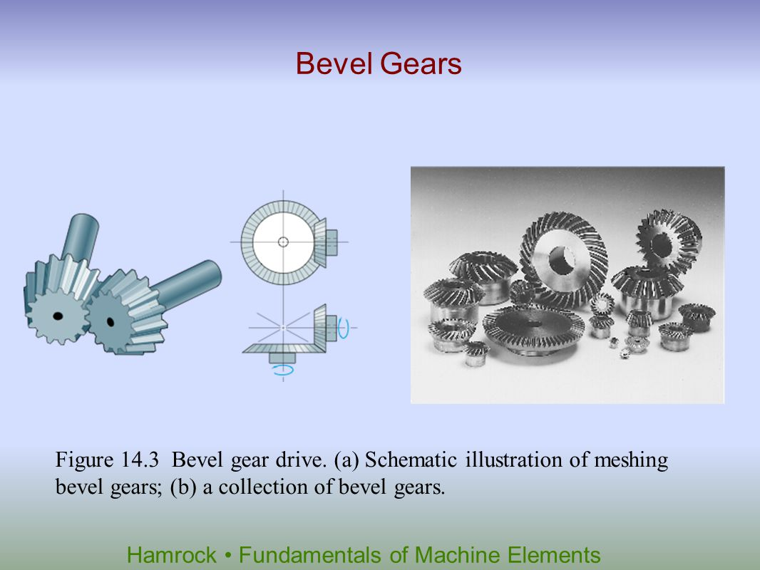 Bevel Gears Figure 14.3 Bevel gear drive.