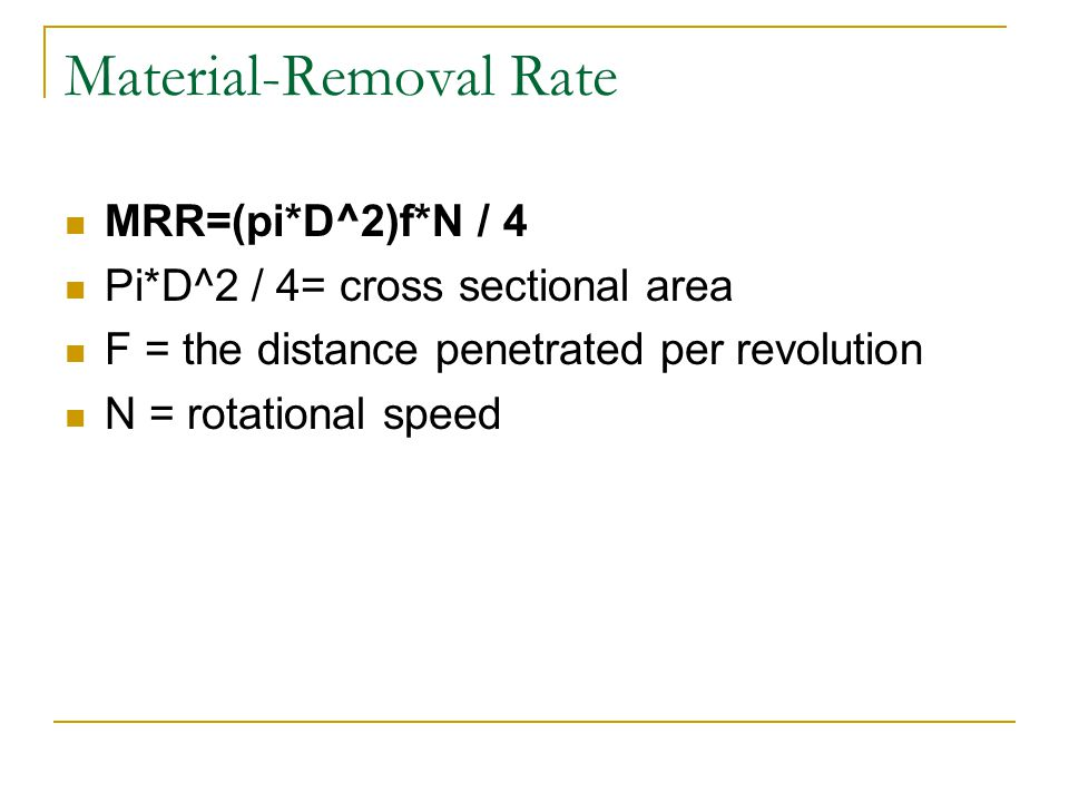 Material-Removal Rate