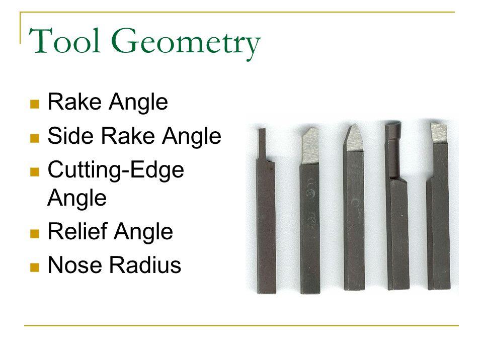 Tool Geometry Rake Angle Side Rake Angle Cutting-Edge Angle