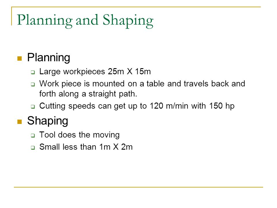 Planning and Shaping Planning Shaping Large workpieces 25m X 15m