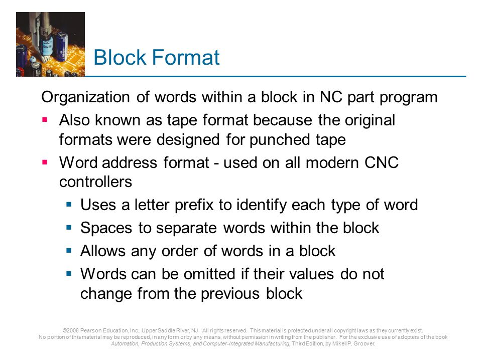 Block Format Organization of words within a block in NC part program