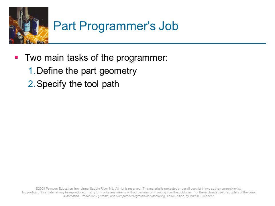 Part Programmer s Job Two main tasks of the programmer:
