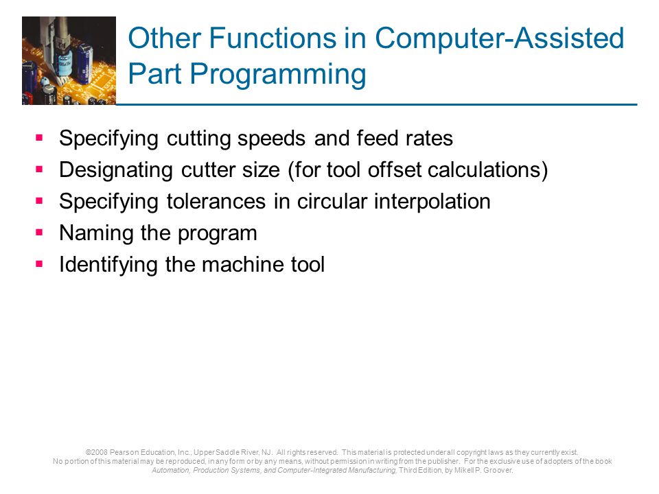 Other Functions in Computer-Assisted Part Programming