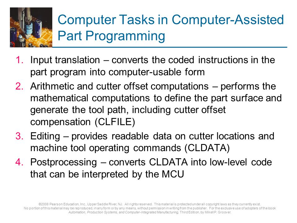 Computer Tasks in Computer-Assisted Part Programming