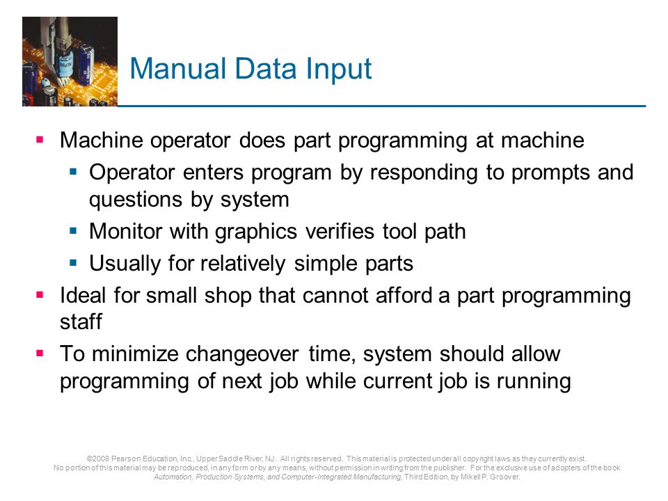 Manual Data Input Machine operator does part programming at machine
