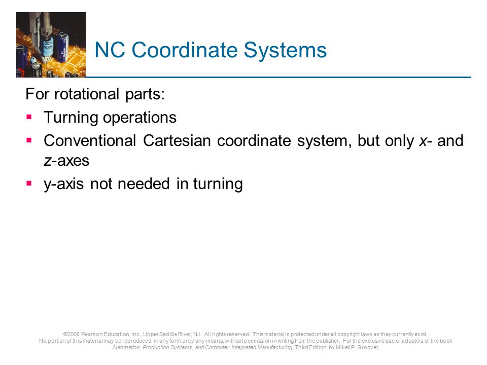 NC Coordinate Systems For rotational parts: Turning operations