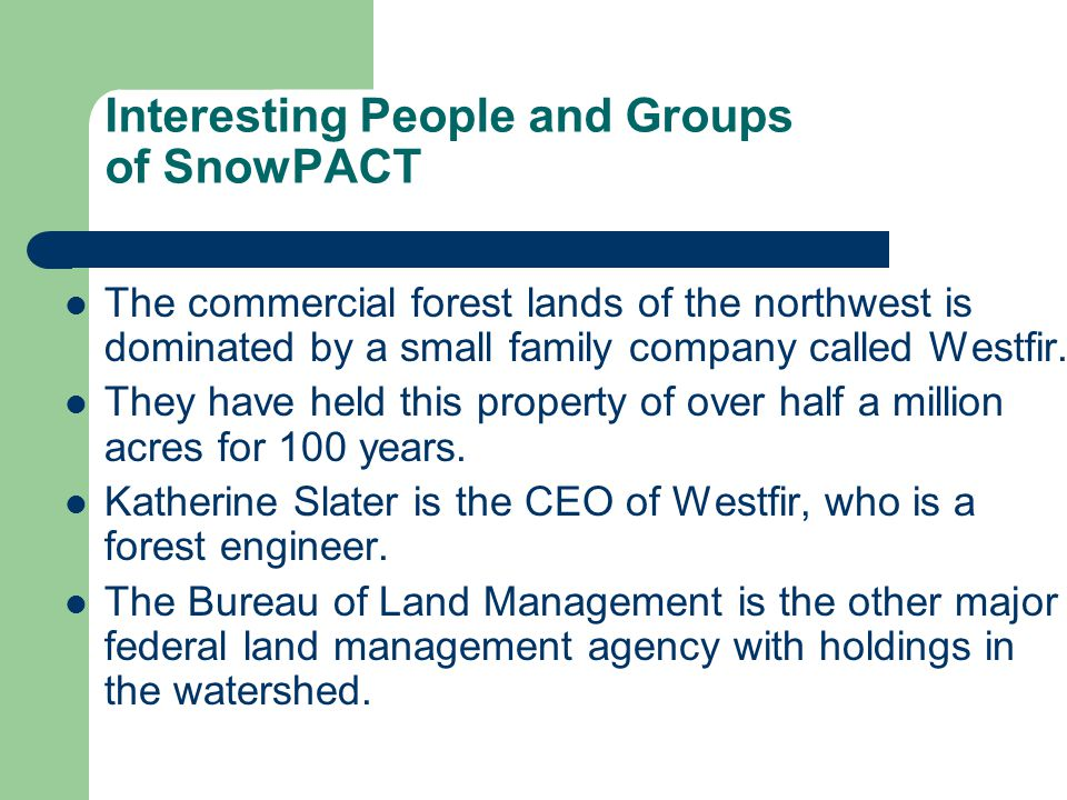 Interesting People and Groups of SnowPACT