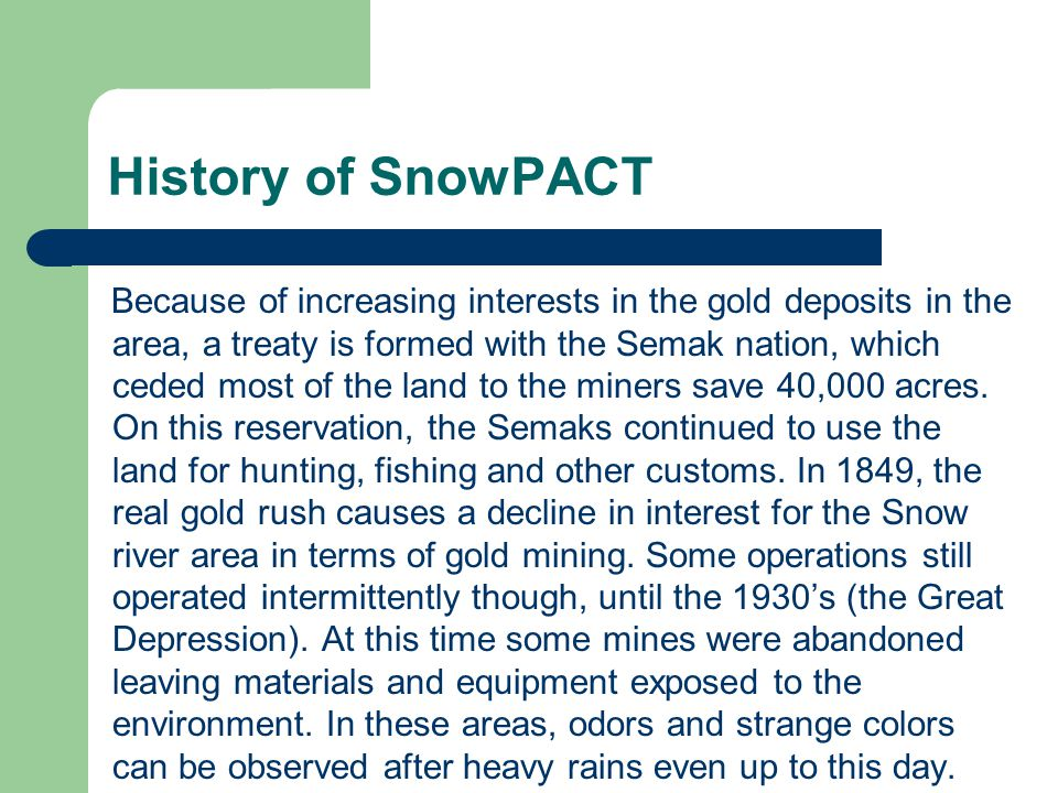 History of SnowPACT