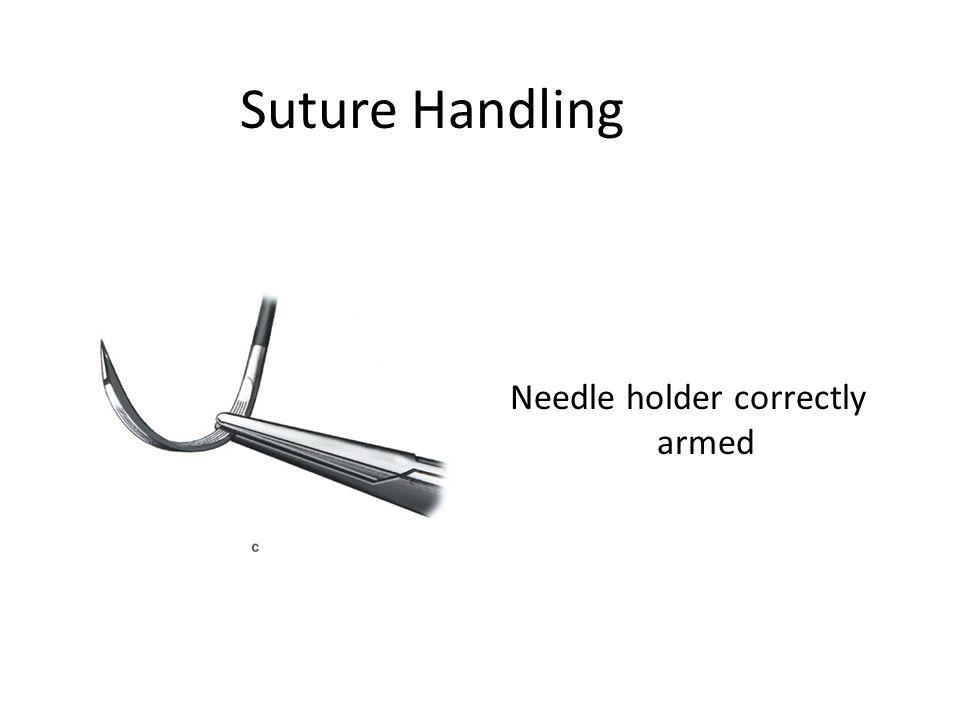 Needle holder correctly armed