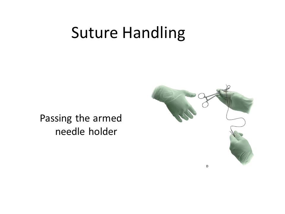 Passing the armed needle holder