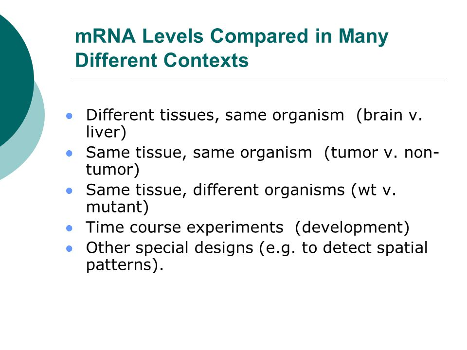mRNA Levels Compared in Many Different Contexts