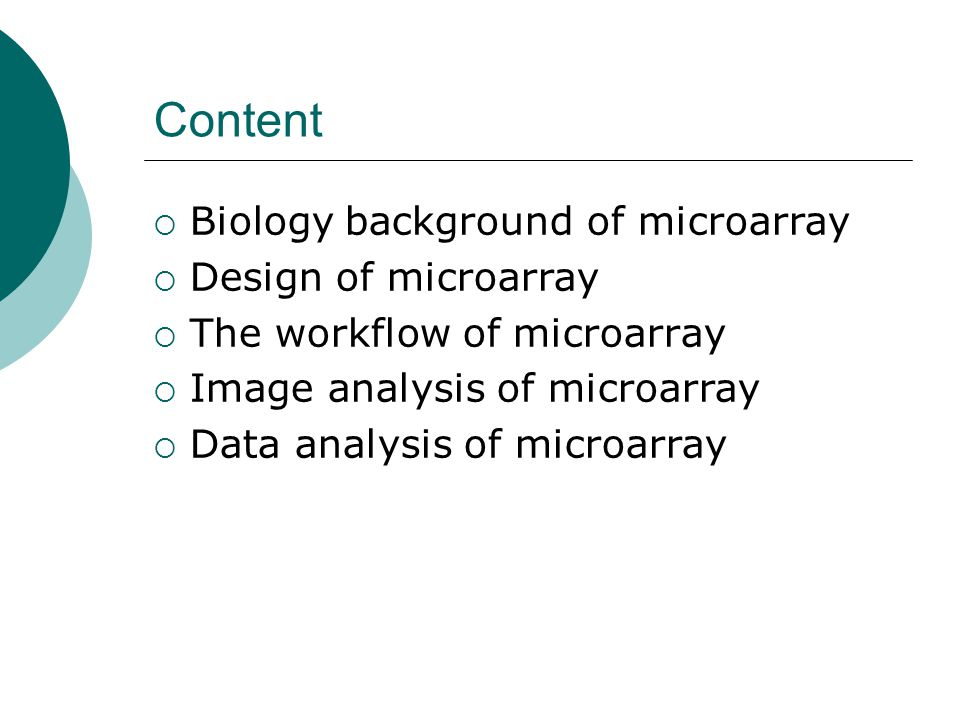 Content Biology background of microarray Design of microarray