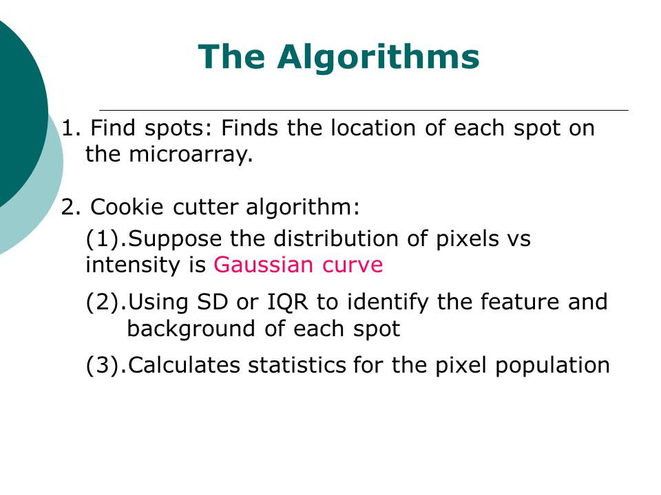 The Algorithms 1. Find spots: Finds the location of each spot on the microarray. 2. Cookie cutter algorithm: