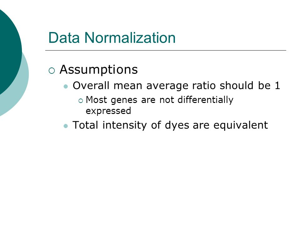Data Normalization Assumptions Overall mean average ratio should be 1