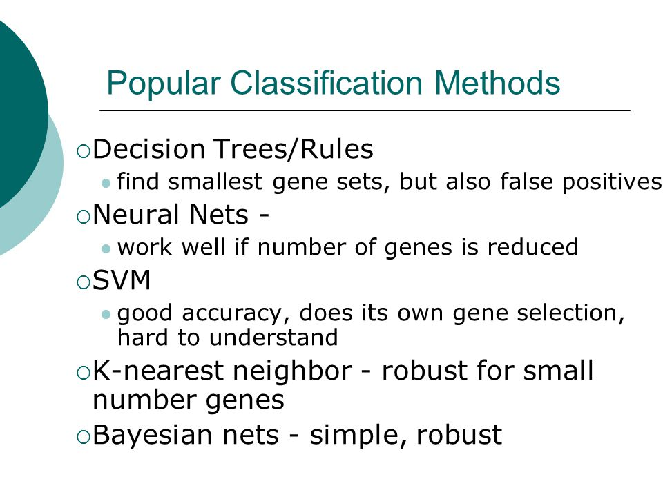 Popular Classification Methods