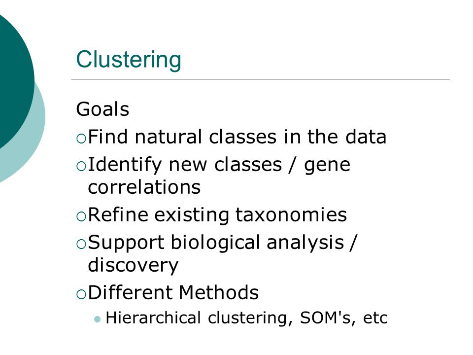 Clustering Goals Find natural classes in the data