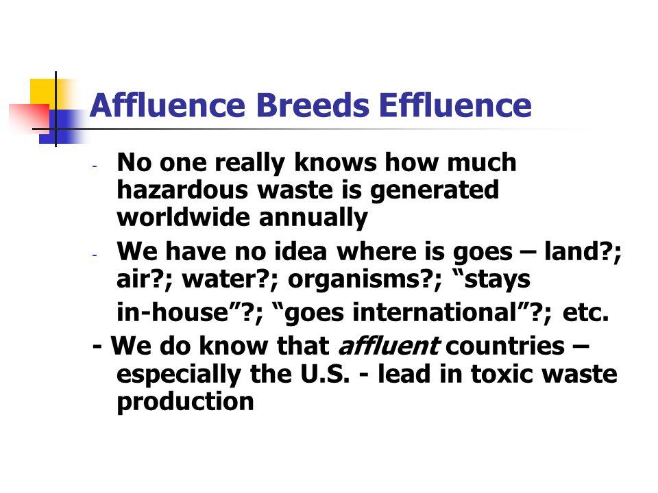 Affluence Breeds Effluence