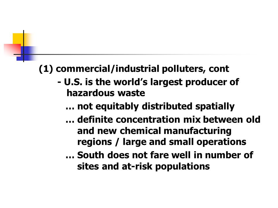 (1) commercial/industrial polluters, cont