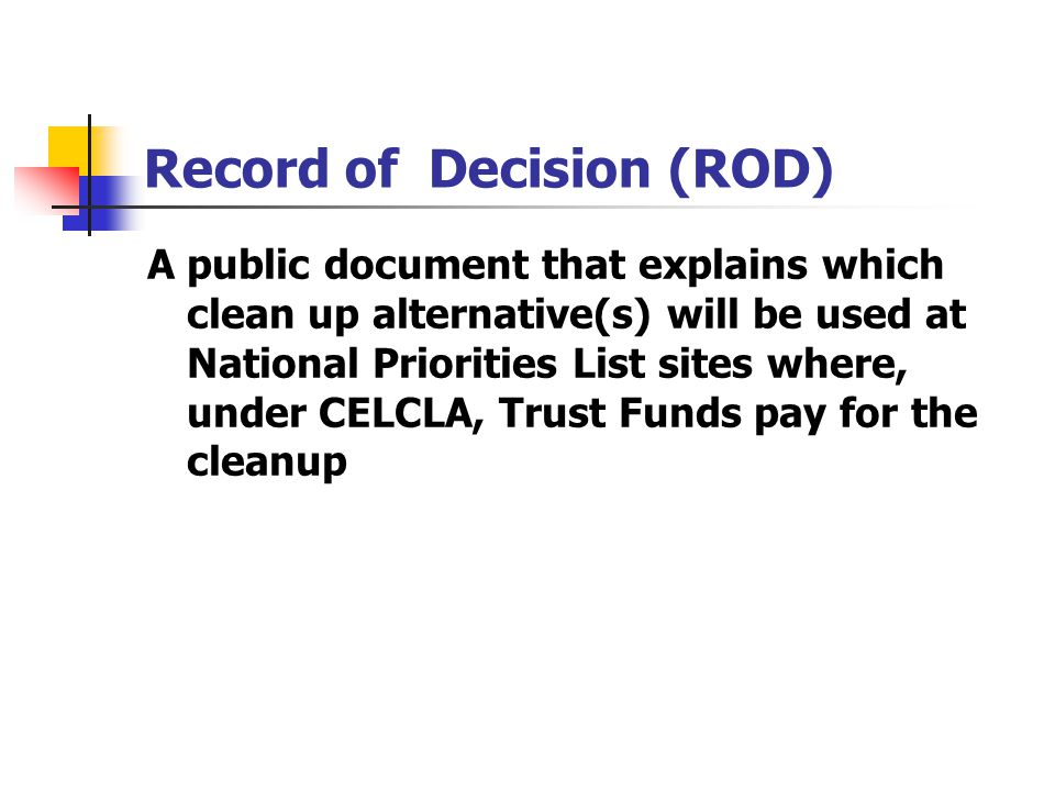 Record of Decision (ROD)