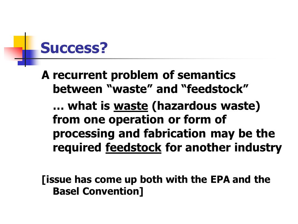 Success A recurrent problem of semantics between waste and feedstock