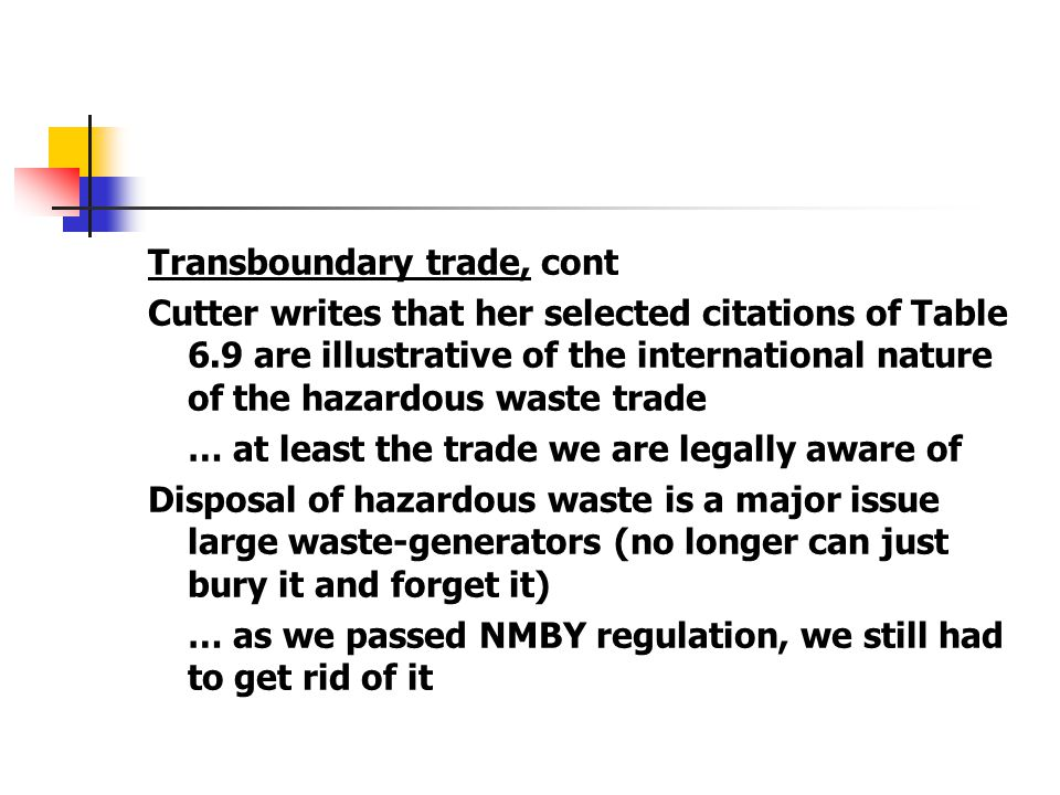 Transboundary trade, cont