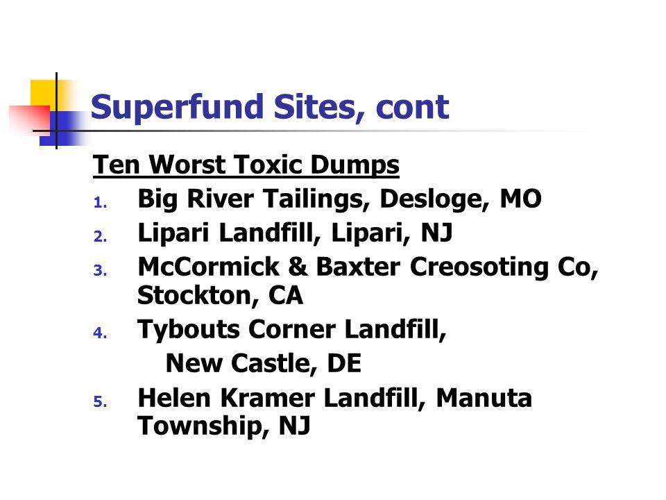 Superfund Sites, cont Ten Worst Toxic Dumps