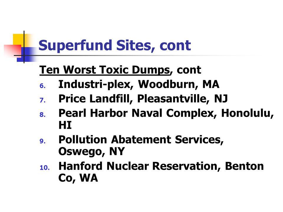 Superfund Sites, cont Ten Worst Toxic Dumps, cont