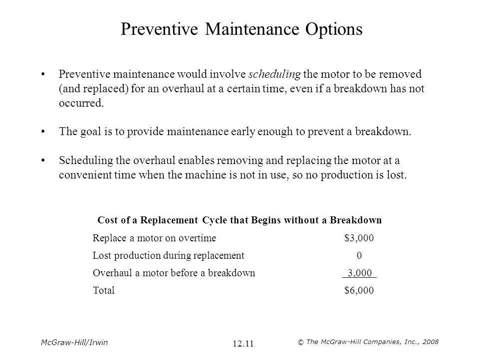 Preventive Maintenance Options