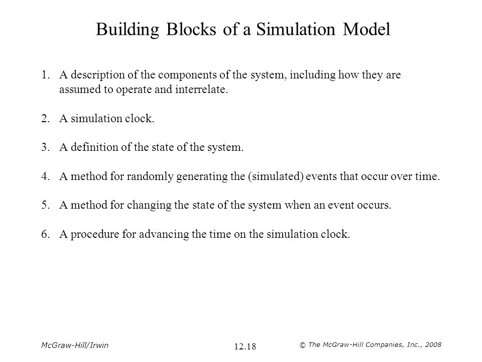 Building Blocks of a Simulation Model