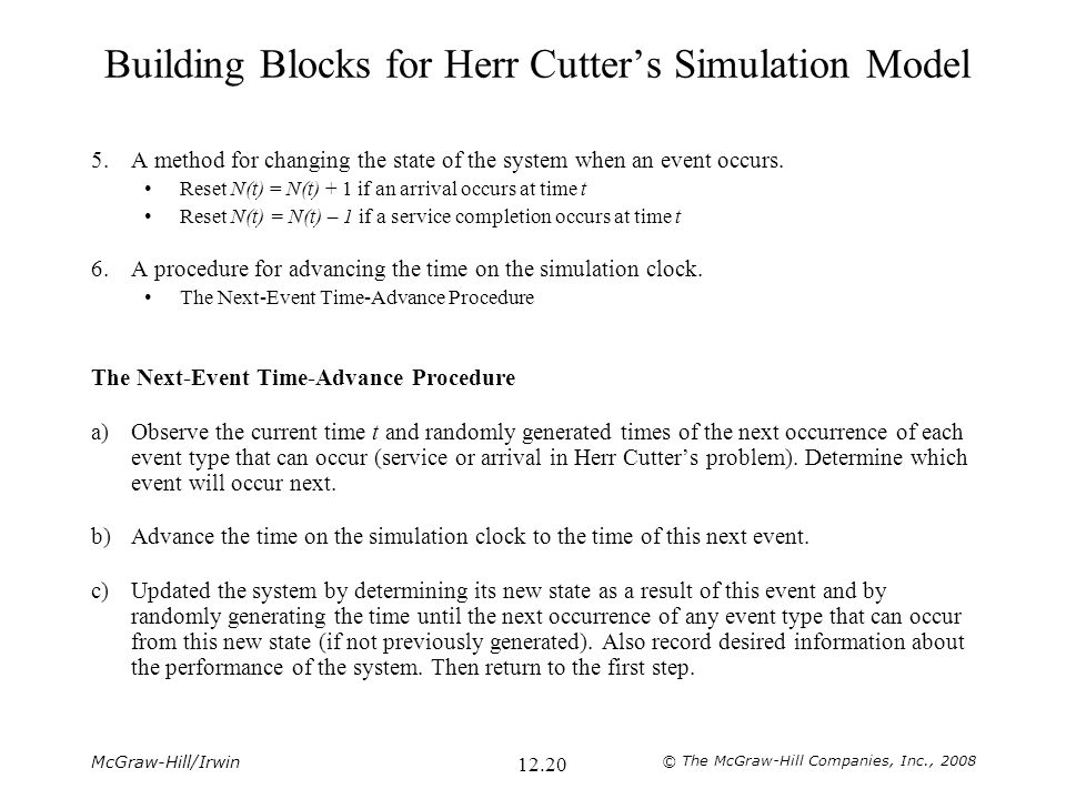 Building Blocks for Herr Cutter's Simulation Model